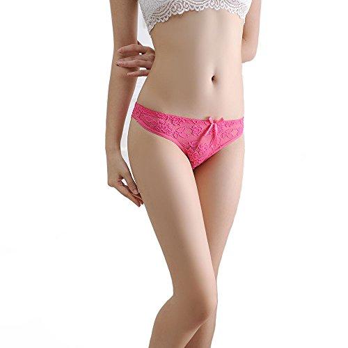 Meiye Mujer Ultra-delgada tanga transpirable del cordón de las mujeres de bajo cintura baja G-string ropa interior Rosa roja