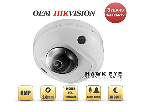 6MP PoE Security IP Camera – Built in Microphone Compact Dome Indoor and Outdoor 2.8mm Lens SD Card Slot Audio Alarm in and Out Compatible with Hikvision DS-2CD2563G0-IS 3 Yr Warranty