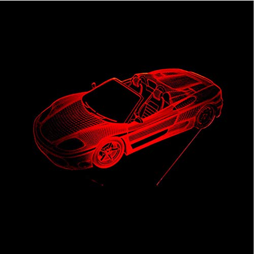r 3D Lamp LED Sports Car Night Lights Acrylic 7 Color Changing Table Lamp Car Fans Room Lighting Toys Gifts Touch ()