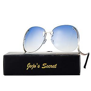 JOJO'S SECRET Oversized Rimless Sunglasses, Retro Upside Down Frame Clear Lens Glasses JS006