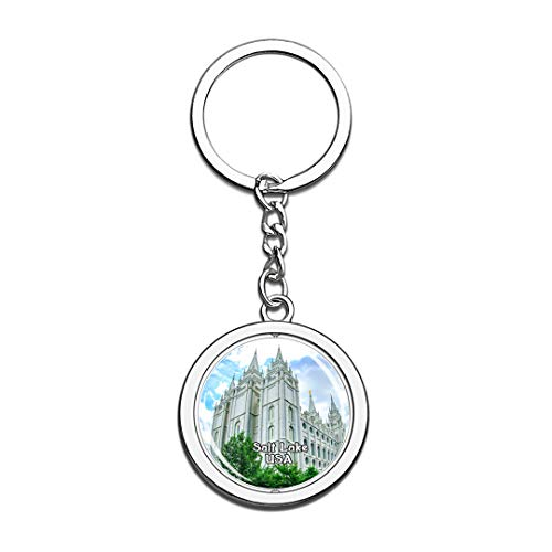 USA United States Keychain Temple Square Salt Lake Key Chain 3D Crystal Spinning Round Stainless Steel Keychains Travel City Souvenirs Key Chain Ring