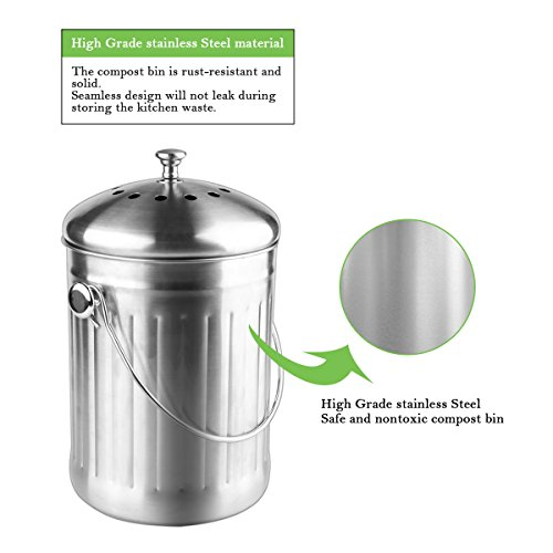 Compost Bin, Stainless Steel Indoor Compost Bucket for Kitchen Countertop Odorless Compost Pail for Kitchen Food Waste with A Carrying Handle and 2 Charcoal Filter 1.3 Gallon Easy to Clean