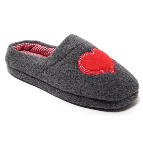 Damen Hausschuhe Pantoffeln Slipper aus wärmendem Fleece, grau/rot