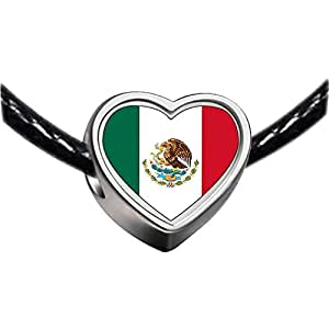 Chicforest Silver Plated Mexico flag Photo Heart Charm Beads Fits Pandora Bracelets