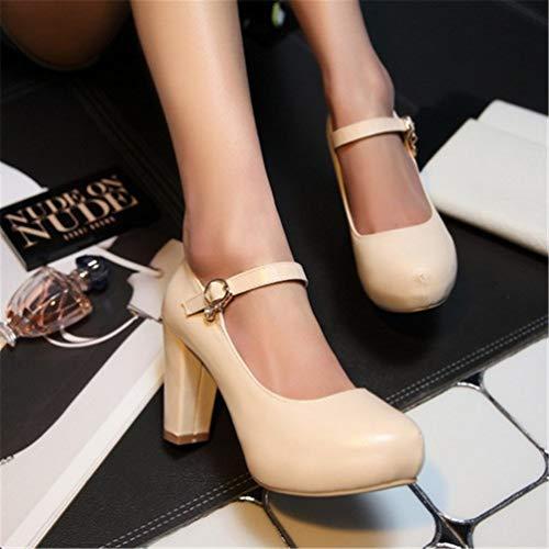 Femme Escarpins Chaussures Ol Printemps Plateforme Haute Beige Partie Mary Janes Talons Automne 51dWxn