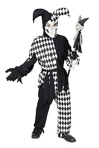 Charades Men's Evil Diamond Jester, Black/White, Large