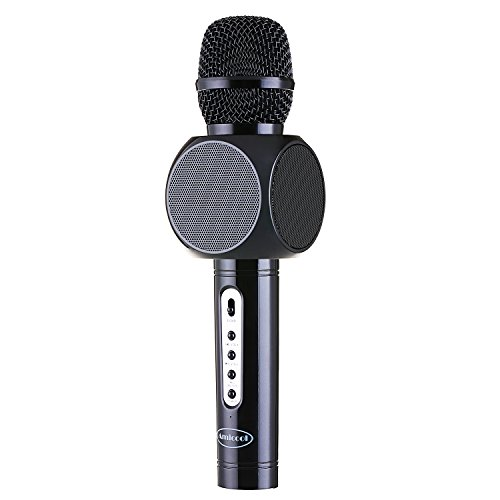 Wireless Microphone Karaoke,Amicool Portable Bluetooth Karaoke Player Speaker for Apple iPhone Android Smartphone Or PC, Home KTV Outdoor Party Muisc Playing Singing Anytime (Black) Image