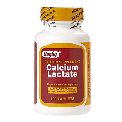 Rugby Calcium Lactate Tablets For Strong Bones, 84mg, 100 Ea