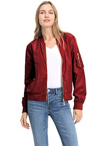 Instar Mode Women's Classic Quilted Lightweight Solid Zip Up Bomber Jacket Coat Burgundy S
