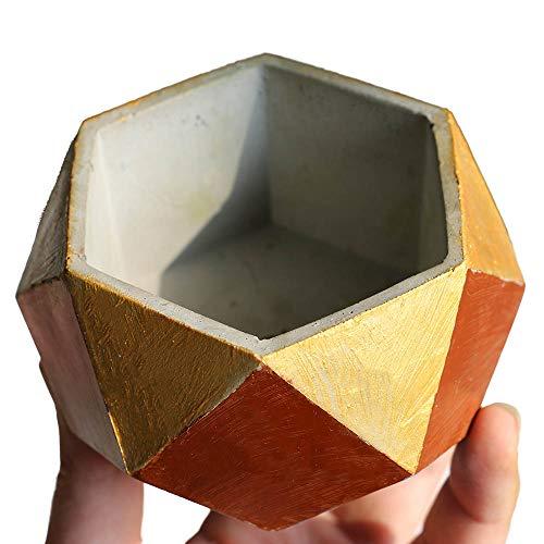 Creative Concrete Planter Pot Mold, Handmade Craft,Home Decoration Geometry Cement Flowerpot Molds,Rubber Molds for Casting with Concrete,Cement,Plaster
