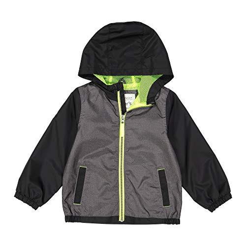 Carter's Baby Boys Mesh Lined Windbreaker Jacket, Gray Texture Margarita Neon 24 Months