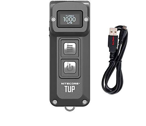 Nitecore TUP Intelligent Pocket Light - 1000 Lumen - OLED Display with Bonus Eco-Sensa Micro USB Charging Cable - Two Color Choices (GRAY)