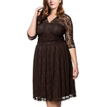 Dilanni Women'sPlus Size Lace Floral Half Sleeves Hollow Cocktail Dress