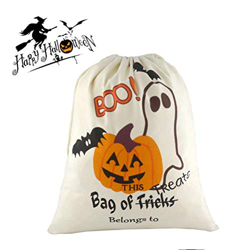 Halloween Personalized Bag Large Trick or Treat Candy Sack Bags Ghost Pattern Drawstring Bag, -