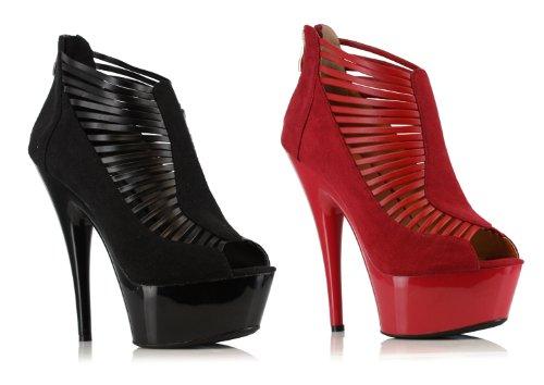 Ellie Chaussures E-609-marcie 6 Bottines Sur Plateforme Avec Peep Toe Noir