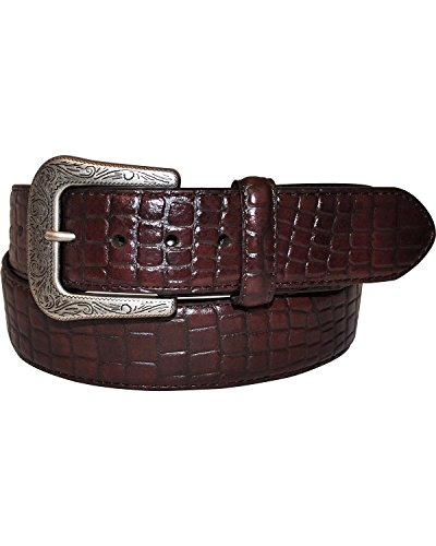 G-D Men's G Bar D Dark Croco Print Belt Dark Brown 40