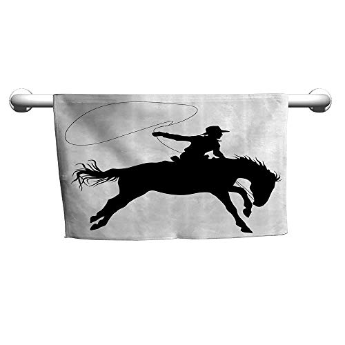 - flybeek Baby Bath Towel Cartoon Decor Collection,Silhouette of Cowboy Riding Horse Rider Rope Sport Country Western Style Art,Black and White,Towel Shelf for Bathroom