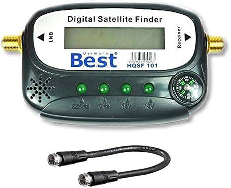 Satfinder - Medidor de sonido con cable de conexión, conectores F dorados para ajustar tu antena de satélite (digital, localizador de satélite)