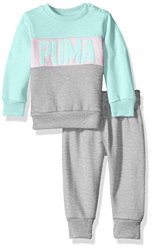 PUMA Baby Girls Two Piece Sweatsuit Set, Light Heather Grey, 6-9 Months