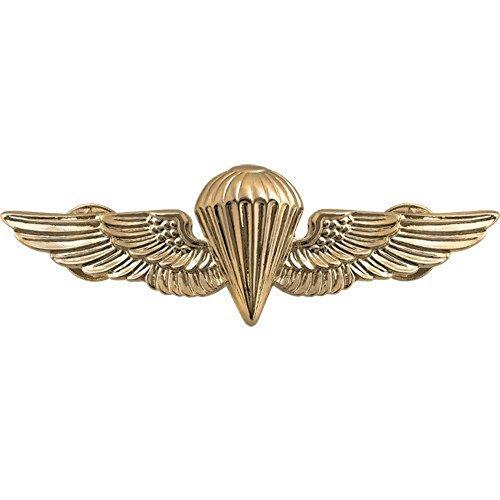 Parachutist Badge US Navy (USN) and Marine Corps (USMC) Regulation Size, Gold Mirror Finish