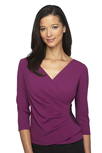 Alex Evenings Women's Faux-wrap Blouse with Waist Embellishment M Passion by Alex Evenings
