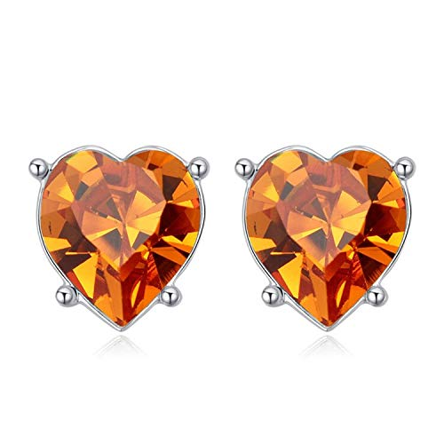 Heart Stud Earrings Rhodium Plated Piercing for Women Daily Leisure Jewelry Embellished with Crystal from (Citrine) ()