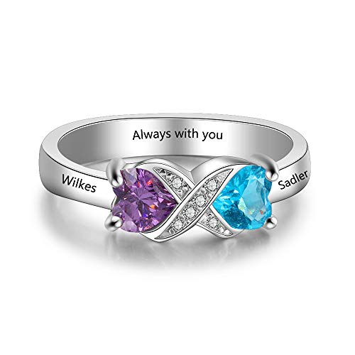 - Love Jewelry Personalized Infinity Mothers Ring with 2 Heart Simulated Birthstones Engagement Promise Rings for Women (Silver, 6)