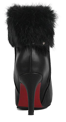 CHFSO Womens Sexy Waterproof Fully Fur Lined Pointed Toe Zipper Chunky High Heel Wedding Winter Boots Black fSUKcbnm3