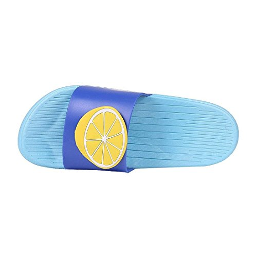 Slippers Men Sandals Bathroom Slippers Family Beach QZBAOSHU Summer Fruit lemon Women Slides Indoor Blue Boy for Girl UXXq0Ip