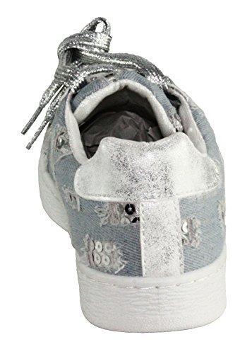 Pour Toujours Les Femmes Mikaila-11 Sneakers De Mode À Lacets Bleu Clair / Argent