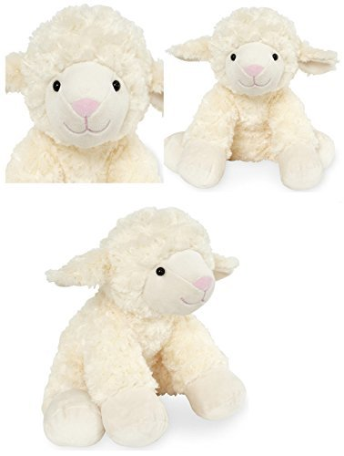Two Tone Lamb (Animal Alley - 10 inch Stuffed Baby Lamb - Made of Beautiful Cream and White Two Tone Fabric,)