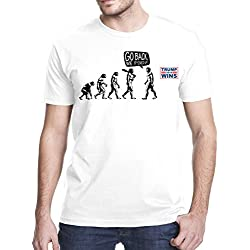 Evolution Go Back We F-Ed Up Anti Trump Funny T-Shirt, Large, White