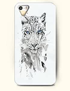 Phone Case For iPhone 5 5S Leopard With Blue Eyes - Hard Back Plastic Case / Oil Painting / OOFIT Authentic