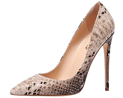 AOOAR Women's High Heel Snakeskin-Print Brown Party Pumps 8 M US