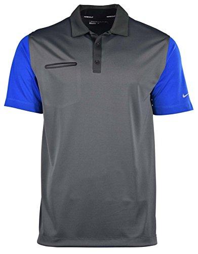 Nike Men's Dri-Fit Lightweight Innovation Color Golf Polo Shirt-Dark Grey Heather/Game Royal-Large