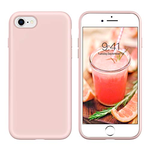 YINLAI iPhone 8 Case Slim Fit, iPhone 7 Case Light Pink, Liquid Silicone Sleek Soft Gel Rubber Cover Shockproof Protective Hard Back Drop Protection Bumper Durable Girls Women Phone Covers, Light Pink (Light Green Iphone 4s Case)