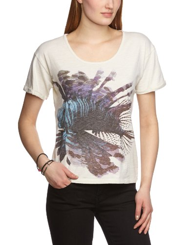 Selected - Camiseta de manga corta para mujer Hueso (Vanilla Ice)