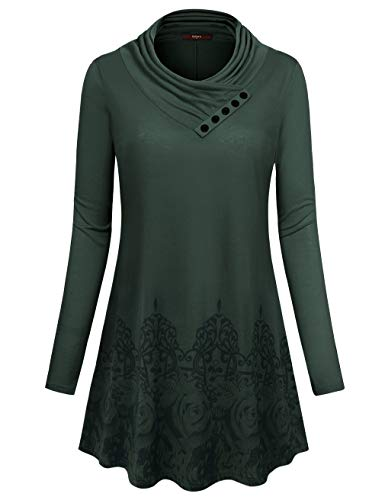Gaharu Cotton Tunics for Women Loose Fitting Tops Flower Long Sleeve Cowl Neck Pullover Feminine Trendy Jersey Party Blouses Pleated Flowing Charming Knit Button Shirt(Large,Green)
