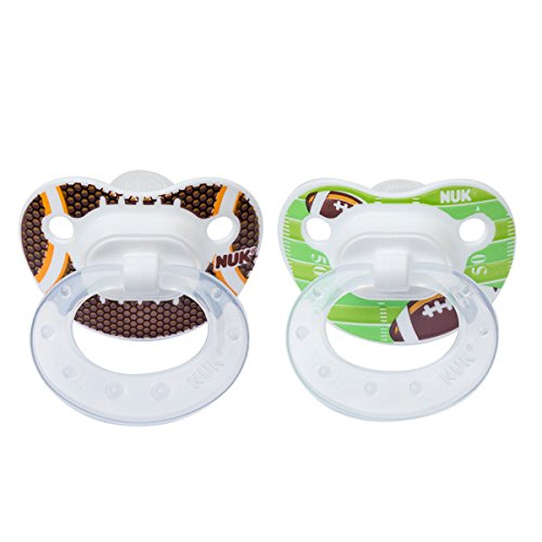 Football Pacifier (NUK 2 Piece Sports Orthodontic Pacifier, 18-36 Months, Silicone, Football)