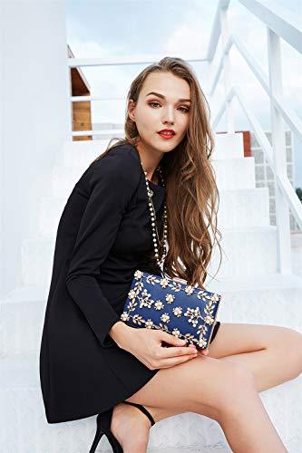 Evening Prom Women's Blue Crossbody Bag Superw Handbag Wedding Purse Handbag Party Bags Bag Noble Bridal Clutch Wallet w8ExqxgdF