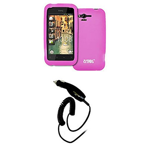 EMPIRE Verizon HTC Rhyme Hot Pink Rosa Silicone Skin Case Tasche Hülle Cover + Auto Charger (CLA)