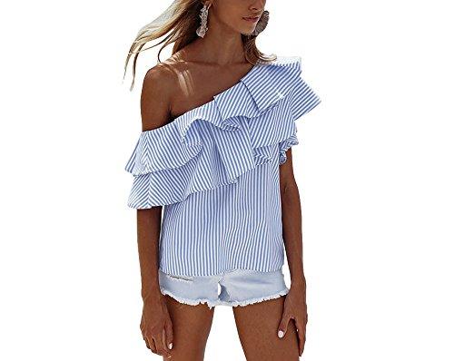 Xuan2Xuan3 Women One Shoulder Stripe Printed Ruffle Casual Loose Tunic Blouse Top Tee Shirt