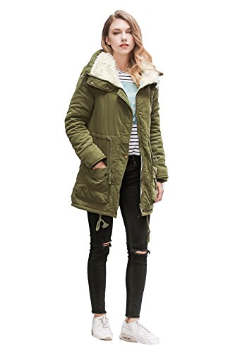 ACE SHOCK Winter Coats for Women Plus Size, Faux Fur Lined Parka Jackets Long Warm 12 Colors (Regular US X-Large, Army Green)