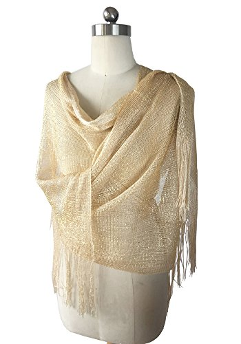 MissShorthair Womens Wedding Evening Wrap Shawl Glitter Metallic Prom Party Scarf with Fringe (Metallic Champagne) (Looped Scarf)