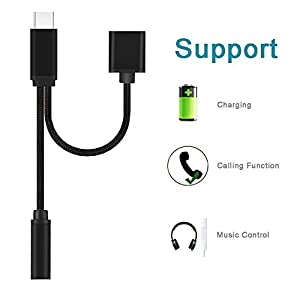 Weimoc Headphone Adapter Converter Supports Audio and Charging for Motorola MotoZ, Nylon BraidedType C Cable Fast Charge Audio Jack3.5mm(Black)