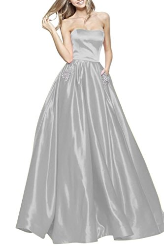 Beaded Waist Strapless Gown - BBCbridal Women's Strapless Beaded Prom Dresses Long A-Line Homecoming Party Gowns with Pockets Silver 2