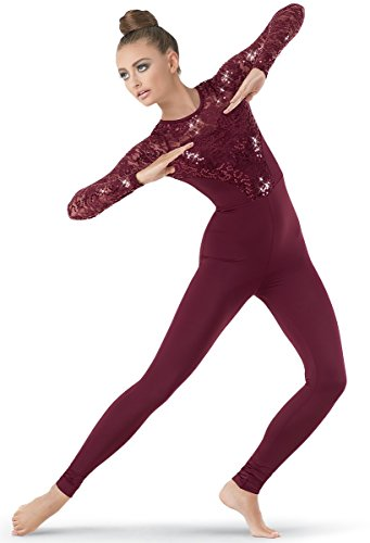 Circus Acrobat Halloween Costume (Balera Dance Unitard Long Sleeve Sequin Lace Accents)