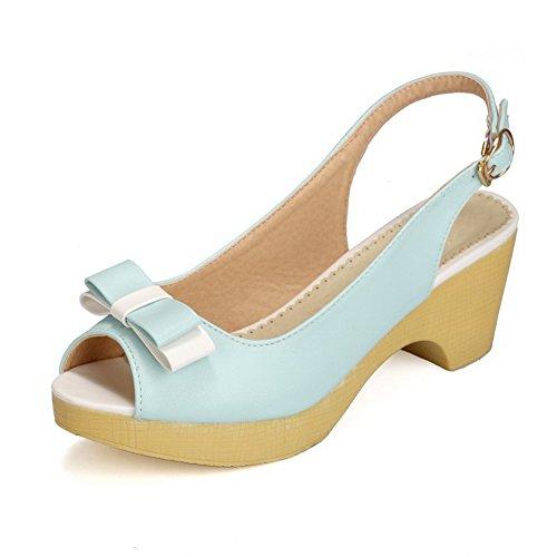 Allhqfashion Kvinners Pip Toe Kitten-hæler Mykt Materiale Assorterte Farger Spenne Sandaler Blå