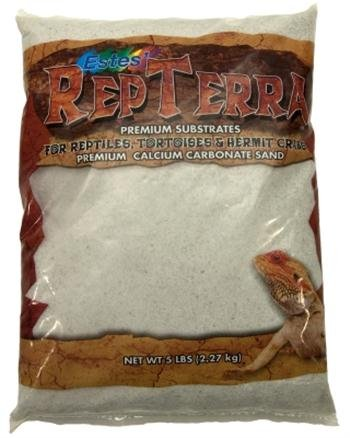 Estes Gravel Products SES60705 RepTerra Reptile Calcium Carbonate Sand, 5-Pound, White 5 pack