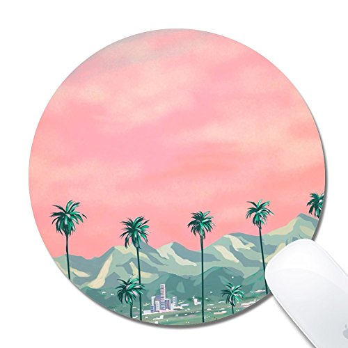 (Royal up Personalized Palm Tree Mountains Official Desktop Or Gaming Ergonomic Medium Large Cloth Surface Natural Rubber Round Mousepad(20x0.3cm))